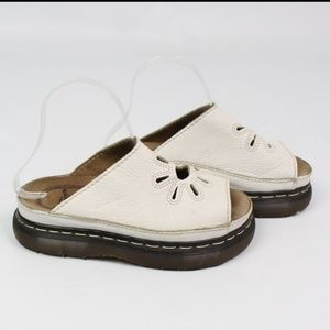 white leather slip on shoe sandal